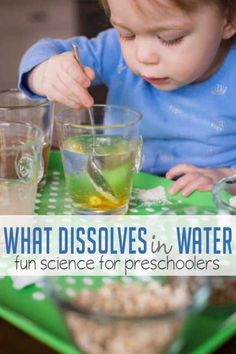 Learn about what dissolves in water with a preschool science experiment. You'll just need a few pantry staples and water! Discover what dissolves in water with a fun, easy preschool science experiment. You'll just need water and a few pantry staples! Montessori Science, Preschool Science Activities, Science Week, Summer Science, Science Lesson Plans, Preschool Lessons, Science Classroom, Science Lessons, Science Education
