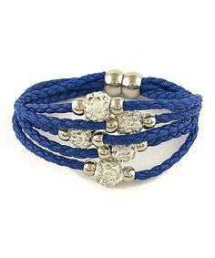 Another great find on #zulily! White Austrian Crystal & Blue Leather Bracelet #zulilyfinds