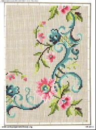 Free antique color charts for floral sprays and borders