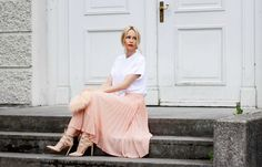 mango white shirt, asos pleated pink skirt, item m6 nude tights, and aquazzura nude heels