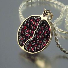 Pomegranate necklace, bronze and silver garnet pendant Garnet Pendant, Gold Pendant, Silver Pendants, Jewelry Accessories, Jewelry Design, Unique Jewelry, Fine Jewelry, Cheap Jewelry, Jewelry Shop