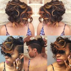 short African American hairstyle with golden blonde highlights