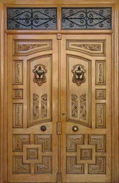 64 Super Ideas For Simple Double Door Design Wood Wooden Double Doors, White Wooden Doors, Double Front Doors, Wooden Front Doors, Wood Doors, Modern Front Door, Front Door Design Wood, Double Door Design, Door Gate Design