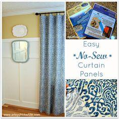 No Sew Curtain Panels Tutorial - artsychicksrule.com #nosew