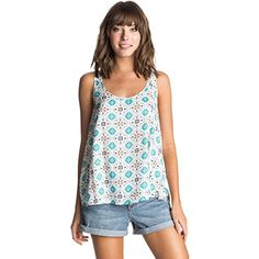 Roxy Juniors Speed Date Tank Top Flower Square Combo Sand Piper Medium ** You can get more details by clicking on the image.