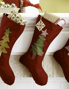 Stockings don't have to be elaborate patchwork. For a simple option that comes together quickly, embellish a basic sock pattern with fusible shapes that use up your scraps.