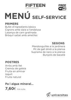 Estos son los platos del self-service de Fifteen para hoy 2 de diciembre.