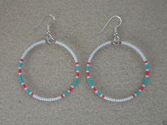 White +Pink Coral + Turquoise Beaded Silver Hoop Earrings ~ Native American Made