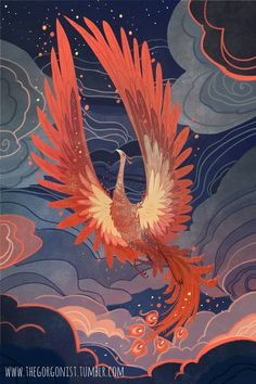 art print : She rises, illuminating the clouds and out-shining the stars! The phoenix/firebird type stories really resonate with me. This inch print on archival lustre photo paper will be packed in a clear sleeve with backi Art Inspo, Phoenix Art, Phoenix Painting, Phoenix Makeup, Tattoo Phoenix, Art Chinois, Art Asiatique, Art Japonais, Art Et Illustration