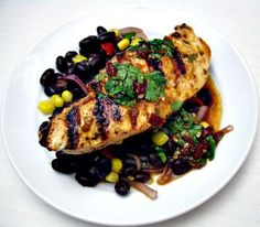 Chipotle lime chicken & black beans  Excellent!  Instead of the peppers in the marinade, I used half a can of green chilis.  Next time make sure the chicken is defrosted before marinating. Sooo good!