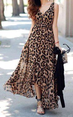 Every time you present a social gathering you will be the target by Beach Look Chiffon Plunging V Neck Leopard Slit Asymmetrical Hem Sleeveless Long Maxi Dress . Leopard Print Outfits, Animal Print Outfits, Animal Print Fashion, Leopard Dress, Fashion Prints, Animal Prints, Cheetah, V Neck Dress Long, Cute Dresses