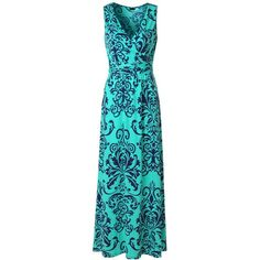 Zattcas Womens V Neck Sleeveless Maxi Dress Casual Empire Floral Maxi... ($25) ❤ liked on Polyvore featuring dresses, blue maxi dress, maxi dress, floral print maxi dress, blue floral print dress and v neck dress