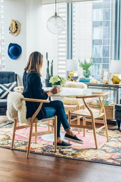 Today I'm sharing our Rove Concepts dining room. I'm obsessed with our wishbone chairs, marble tulip table and bright dining space. Tulip Dining Table, Table And Chairs, Dining Chairs, Dining Room, Room Chairs, Ikea Table, Bag Chairs, Side Chairs, Scandinavian Design