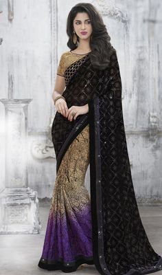 Be the fashionable trendsetter by sporting this purple, brown and black color chiffon net half n half sari. Beautified with sequins and stones work. #trendydesignsaree #trendsetterhalfnhalfsaris #multicolorsari