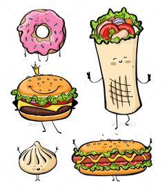 Cartoon Fast Food Unhealthy Burger, Hamburger, Kebab, Hotdog image ideas from Food Ideas Vegan Quesadilla, Texas Chili, Food Cartoon, Cute Cartoon, Burger Cartoon, Happy Cartoon, Hamburgers, Food Design, Hot Dogs