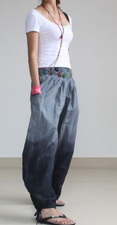 Gray Pants wide leg pants fashion skirt pants Linen pants