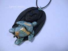 Sea Turtle Dreams black & turquoise polymer clay and resin jewelry pendant necklace handmade One of a Kind by LynzCraftz on Etsy