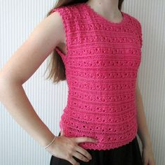 Hand Knit Summer shirt Lace Knit Top by BlageCrochetDesign on Etsy