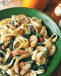 Fettuccine with Chicken, Spinach, and Creamy Orange Sauce Recipe on Food & Wine
