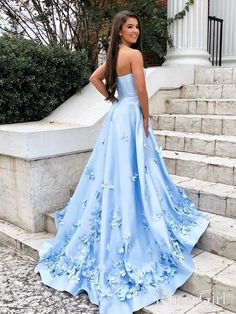 Sweetheart Sky Blue Long Prom Dresses with Floral Applique – SheerG. - Sweetheart Sky Blue Long Prom Dresses with Floral Applique – SheerGirl Source by - Prom Dresses With Pockets, Pretty Prom Dresses, Simple Prom Dress, Prom Dresses Blue, Cheap Prom Dresses, Quinceanera Dresses, Dance Dresses, Cute Dresses, Evening Dresses