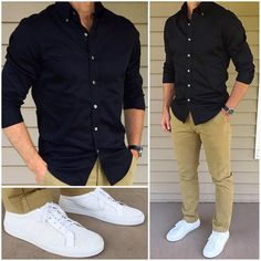 Ideas For Sneakers Outfit Men Casual Leather Jackets Sneakers Outfit Men, Sneakers Fashion, White Sneakers, Black Shirt Outfit Men, Sneakers Style, Black Dress For Men, Lacoste Sneakers, Shoes Style, Men Casual