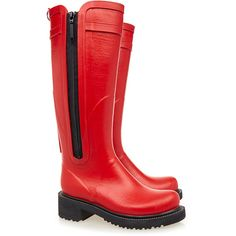 Ilse Jacobsen Tall Red Side Zip Rubber Wellington Boot ($80) ❤ liked on Polyvore featuring shoes, boots, red, tall red boots, rain boots, tall rubber boots, wellies boots and knee high rubber boots
