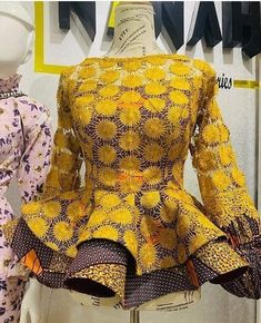 Select your Eid styles with these 35 beautiful ankara skirts and blouse-operanewsapp African Lace Styles, Short African Dresses, African Blouses, Latest African Fashion Dresses, Latest Ankara Styles, African Print Dress Designs, African Attire, Blouse Styles, Blouse Designs