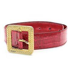 "Chanel Red Crocodile Signature ""CC"" Belt - $239.99"