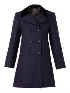 Velvet-collar pea coat | McQ Alexander McQueen | MATCHESFASHIO...