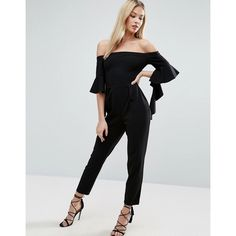 ASOS Bardot Jumpsuit with Ruffle Sleeve Detail (3.850 RUB) ❤ liked on Polyvore featuring jumpsuits, black, asos jumpsuit, off the shoulder jumpsuit, zipper jumpsuit, jump suit and asos