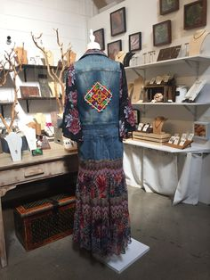 3c9fa087476 Up-cycled Embellished Jean Jacket Denim Duster Coat.A