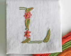 DIY pdf Crewel Embroidery Pattern Monogram L is for Love instant download tutorial