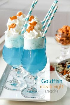 Goldfish Cracker Ice Cream Float. So fun for a Finding Nemo birthday party.