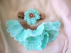 Newborn Crochet Tutu diaper cover and headband set.