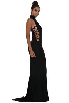5d6454eb132 Black Crisscross Sides Elegant High Neck Dress Floor Length Gown