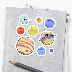 'Planet Pack' Sticker by GarlicAndBasil Space Artwork, Mars, Venus, Framed Prints, Canvas Prints, Vintage T-shirts, Wordpress Theme Design, Free Stickers, Outer Space