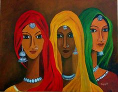 painting of indian woman in ghunghat - Google Search