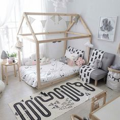Check out gorgeous little Sachi's room the perfect blend of pale pink and monochrome. You can see more over at @blogsachi  We have the striking Adventure Rug in stock now at Milk Tooth because of course every home needs one   w w w . m i l k t o o t h . c o m . a u