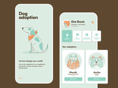 Pets adoption app by Anastasiia Svystunova for EPAM Design Lviv on Dribbble pet adoption Pets adoption app Web Design Mobile, App Ui Design, User Interface Design, Flat Design, Template Web, Website Template, App Design Inspiration, Daily Inspiration, Black Butler