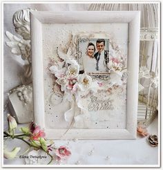 увлеченная скрапом..: Свадебный холст в рамке
