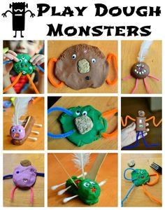 Come see all our play dough monster creations, and you won't want to miss our round-up of other monster, creature, and alien playdough creations from around the web!  Get out your playdough and get crafty!! :)