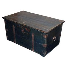 View this item and discover similar for sale at - Hope chest in original blue paint, great wrought iron hardware. Height is could be used for coffee table or end table. Old Chest, Antique Chest, Old Trunks, Vintage Trunks, Old Wooden Boxes, Old Boxes, Coffee Table Height, Painted Trunk, Louis Vuitton Trunk