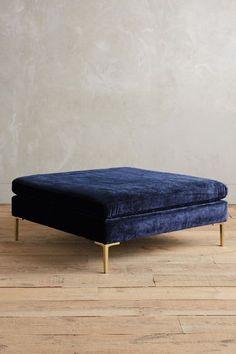 Slub Velvet Edlyn Ottoman - navy midnight blue with gold legs / interior design, home decor - http://anthropologie.com