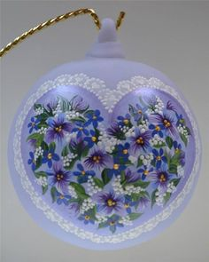 "Fenton ORNAMENT Blown Ball 4"" LAVENDER SATIN Violets LACE Heart OOAK FREEusaSH #FentonCollectiblesfromFentonCullet"