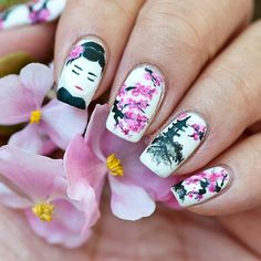 Solo shot of my bestie twin nails with Ale @upadaisynails. This was freehand painted with acrylic paints over a matte white base. I am holding begonia flowers not cherry blossoms.  My geisha is not as impressed with my cherry blossoms as Ale's geisha is with her gorgeous cherry blossoms lol . But thanks to Ale I have learnt a new technique for the blossoms that I can try for next time. Also my geisha ironically has a more modest neckline hehehe. I am however quite proud of how the mountains…