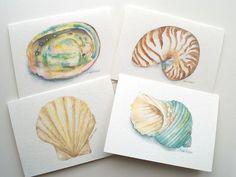 Seashell Watercolor Painting Note Card Set of 4 - Seashell Greeting Card Set - Ocean Beach Cards Seashell Print, Watercolor Animals, Shell Art, Watercolor Paintings, Painting, Sea Shells, Original Watercolor Painting, Note Cards, Original Watercolors
