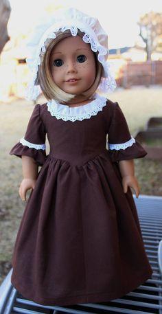 "Felicity's Brown Church Dress for 18"" AG dolls, Designed4Dolls"