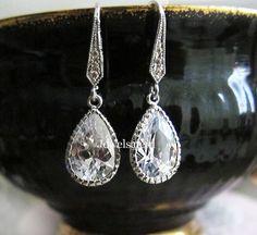 Wedding Earrings Silver Rhinestone Clear Crystal Bridal Jewelry Drop Dangling Stone Sparkling Elegant for Bride Bridesmaids Earrings C1 JW