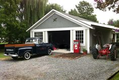 The garage is one of the rooms in the house so...to have an antique Chevy pick-up truck and an antique gas pump for my newly renovated room/garage could be considered decorating ideas - room by room:-)
