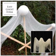Styrofoam and dowels- cheese cloth- layered - spray with lots of starch from dol. Styrofoam and dowels- cheese cloth- layered - spray with lots of starch from dollar store- let dry - instant Ghost 👻 Halloween Yard Decorations, Halloween Porch, Outdoor Halloween, Halloween Ghosts, Halloween Party Decor, Holidays Halloween, Halloween Crafts, Happy Halloween, Fantasias Halloween